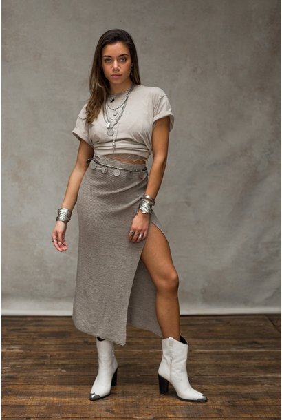 Rok Adiva Knitted Wrap Skirt Tender Taupe