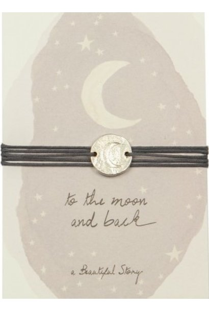Armband Jewelry Postcard Moon silver Grey