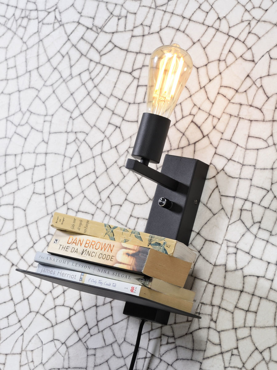 Wandlamp Florence shelf black-2