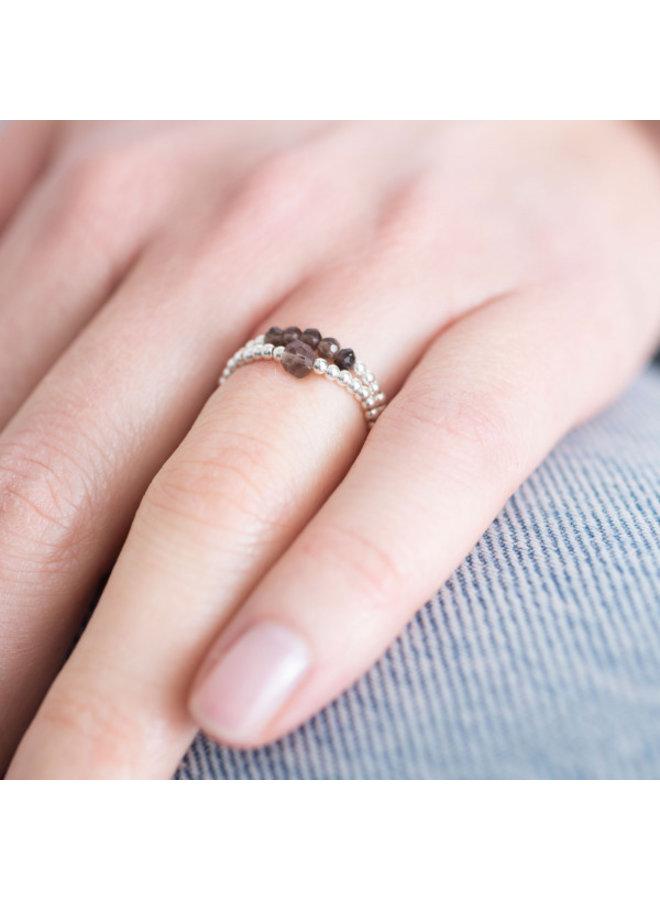 Ring Beauty Smokey Quartz Silver M/L