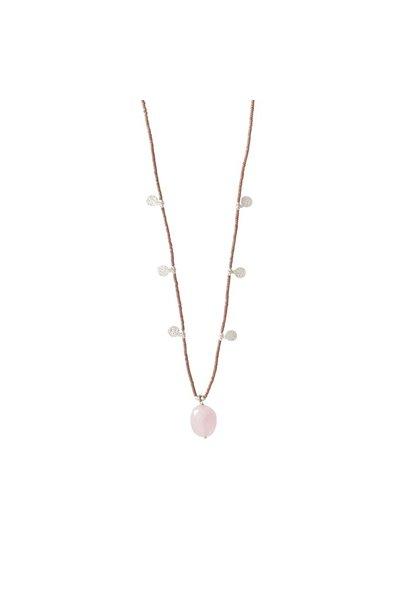 Ketting Charming Rose Quartz Silver