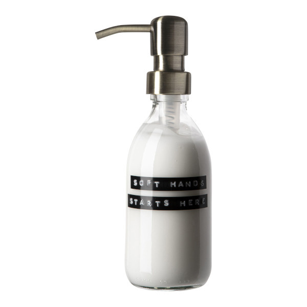 Handcrème helder glas messing pomp 250ml frisse linnen 'Soft hands starts here'-1
