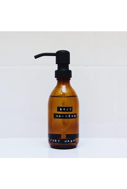 Handzeep bruin glas zwarte pomp 250 ml bamboe 'Shit happens just wash'
