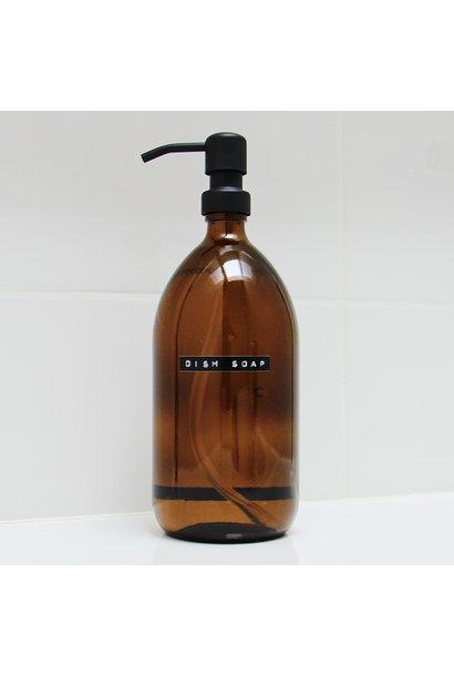 Afwasmiddel bruin glas met zwart stalen pomp 1L 'dish soap'