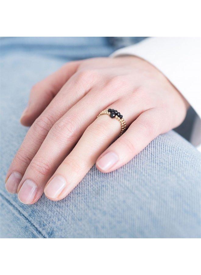 Ring Sparkle Black Onyx Gold S/M