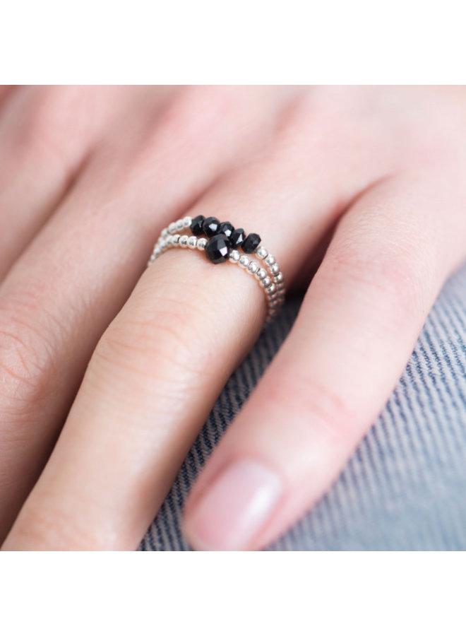 Ring Sparkle Black Onyx Silver S/M