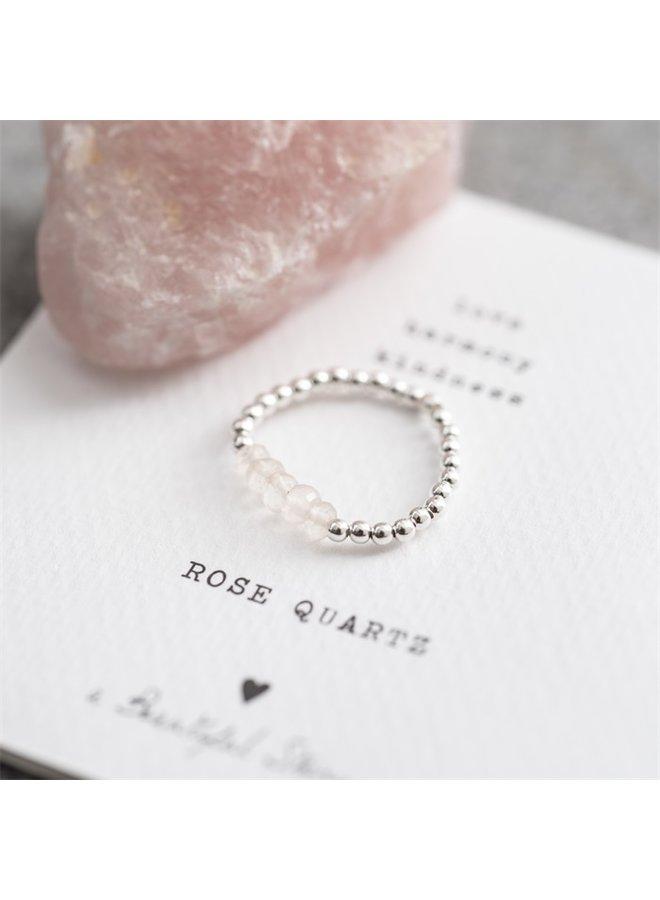 Ring Beauty Rose Quartz Silver M/L