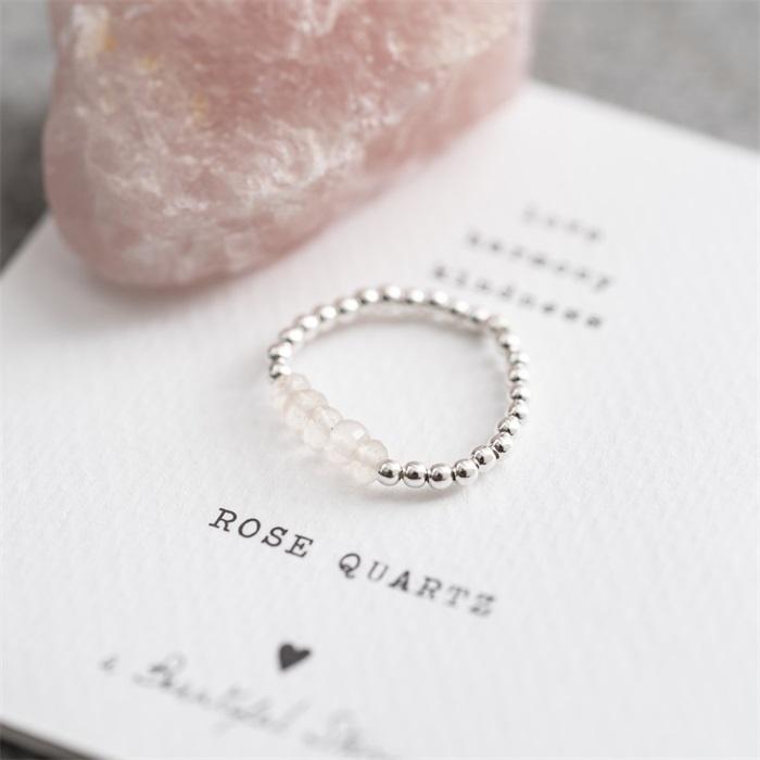 Ring Beauty Rose Quartz Silver M/L-4