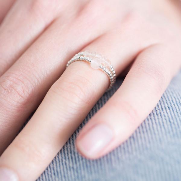 Ring Beauty Rose Quartz Silver M/L-2