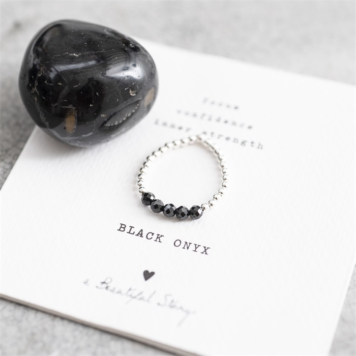 Ring Beauty Black Onyx Silver M/L-4