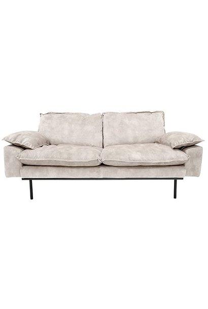 Bank retro sofa: 2-seats, vintage velvet, crème white