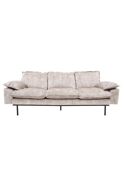 Bank retro sofa: 3-seats, vintage velvet, crème white