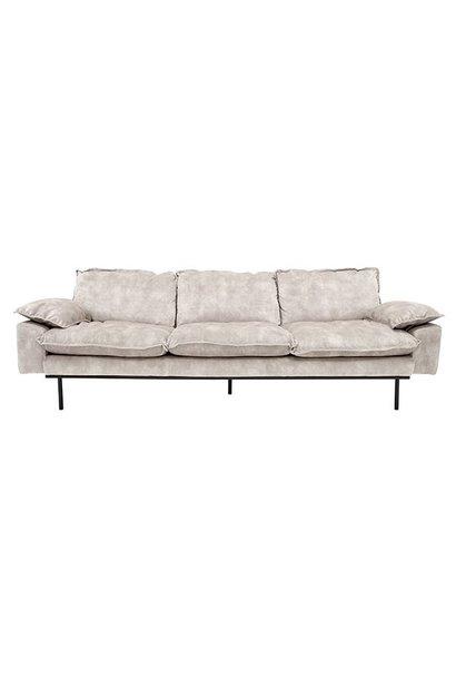 Bank retro sofa: 4-seats, vintage velvet, crème white