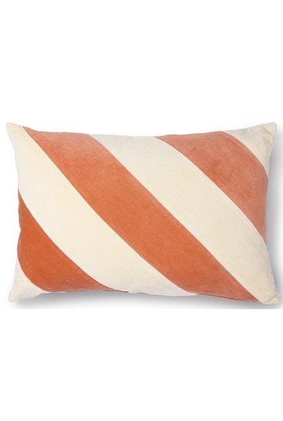 Kussen striped velvet 40x60cm Peach Cream