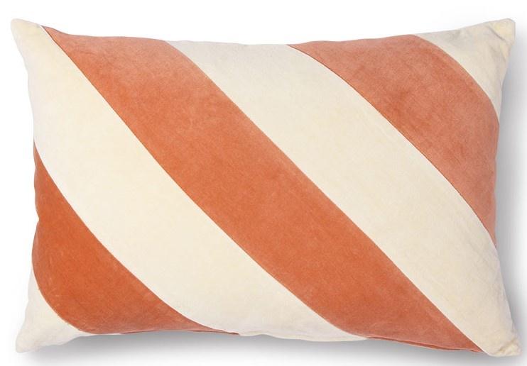 Kussen striped velvet 40x60cm Peach Cream-1