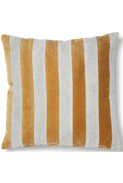 Kussen striped velvet 50x50cm Grey Gold