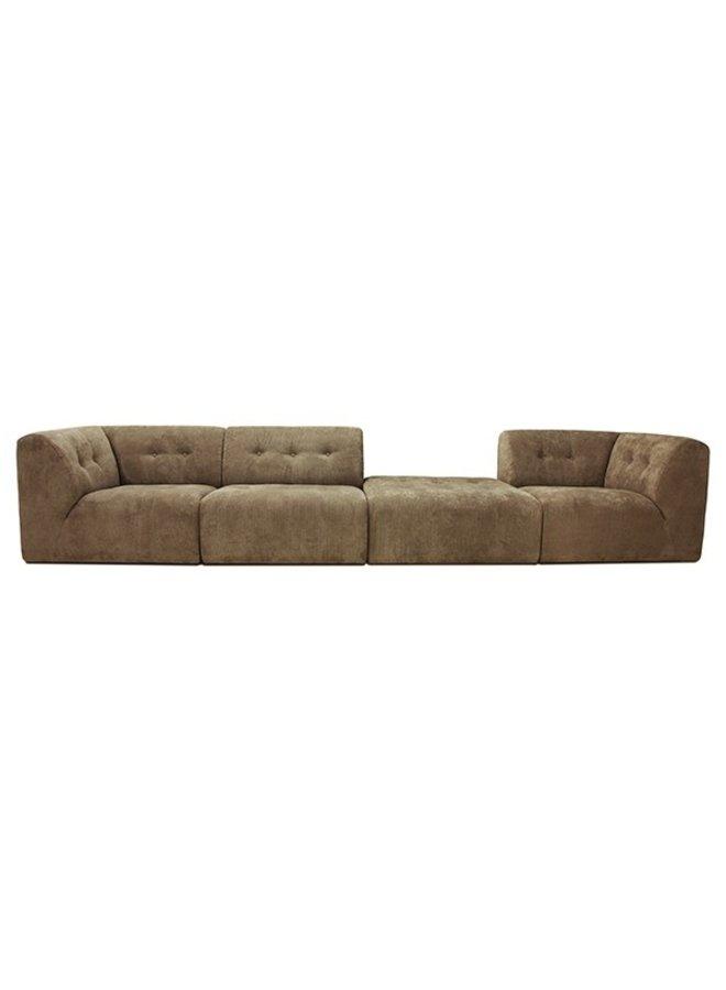 Bank vint couch: element left, corduroy rib, brown