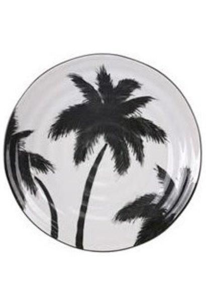 Bord ceramics porcelain palms Ø26cm White
