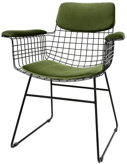 Kussens wire chair with arms comfort kit velvet green-2