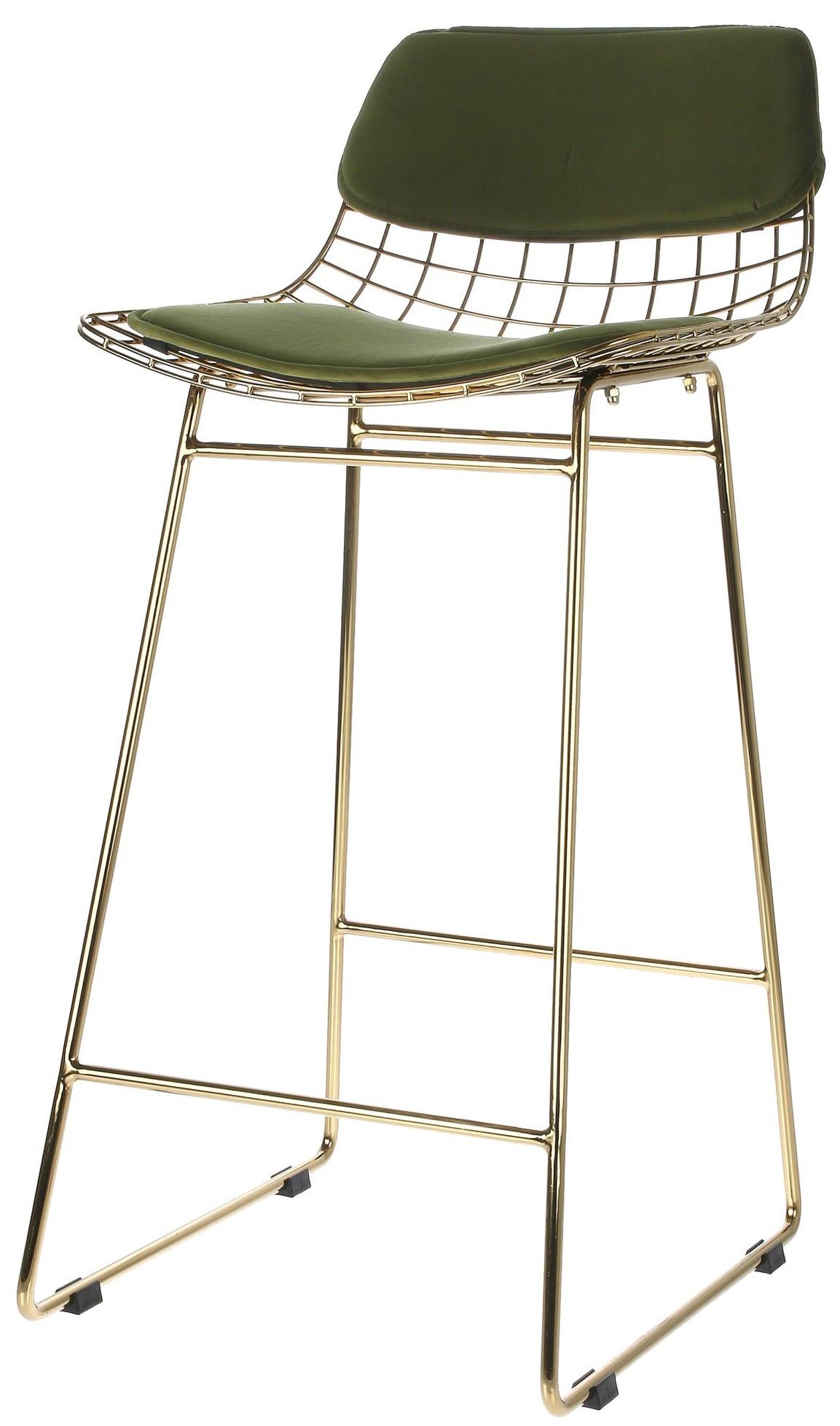 Kussens wire bar stool comfort kit velvet green-2