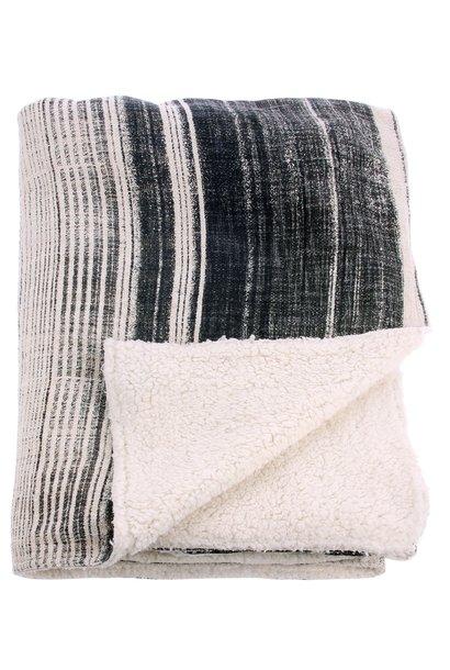 Woondeken striped fleece throw 130x160cm Grey creme