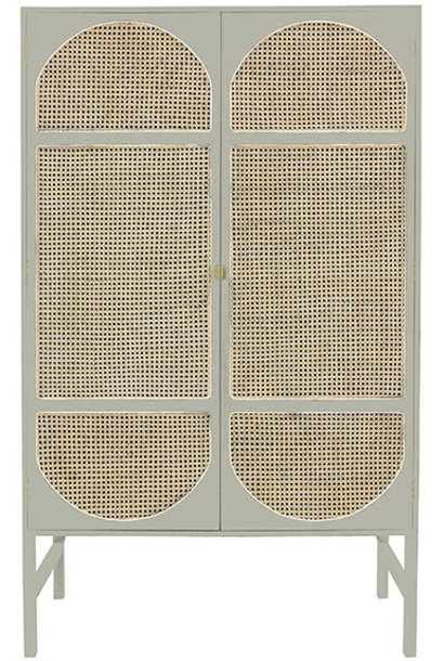 Kast retro webbing cabinet light grey with shelves