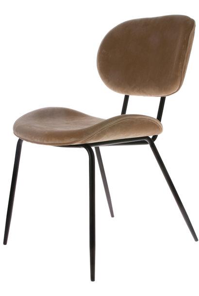 Stoel dining chair velvet sand