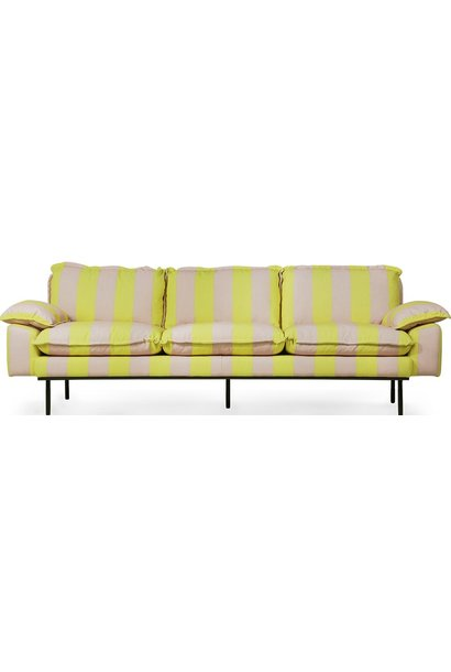 Bank retro sofa: 4-seats, striped, yellow/nude