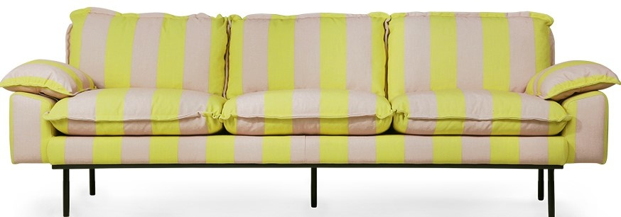 Bank retro sofa: 4-seats, striped, yellow/nude-1