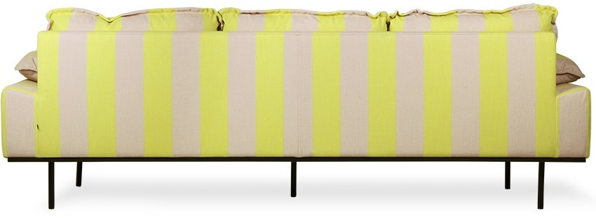 Bank retro sofa: 4-seats, striped, yellow/nude-2
