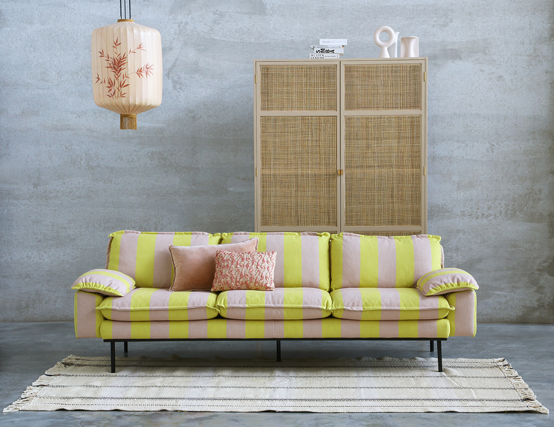 Bank retro sofa: 4-seats, striped, yellow/nude-3