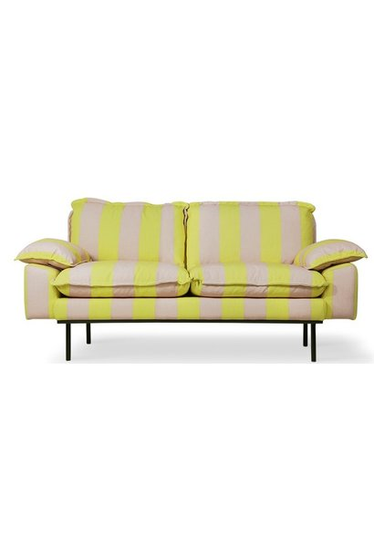 Bank retro sofa: 2-seats striped, yellow/nude