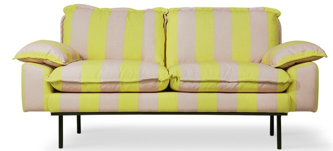 Bank retro sofa: 2-seats striped, yellow/nude-1