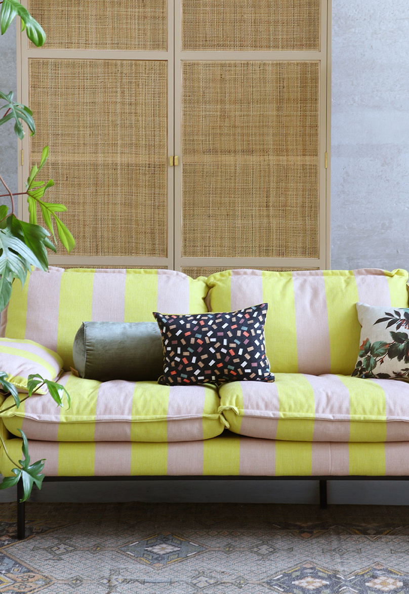 Bank retro sofa: 2-seats striped, yellow/nude-3