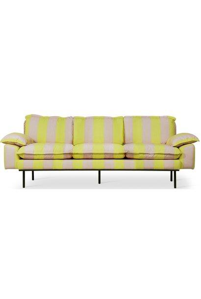 Bank retro sofa: 3-seats striped, yellow/nude