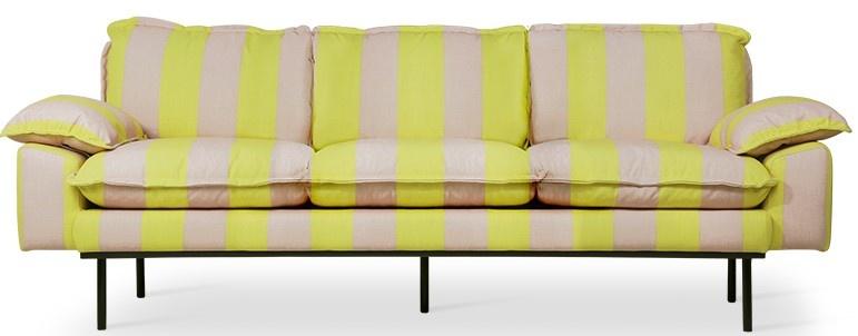 Bank retro sofa: 3-seats striped, yellow/nude-1