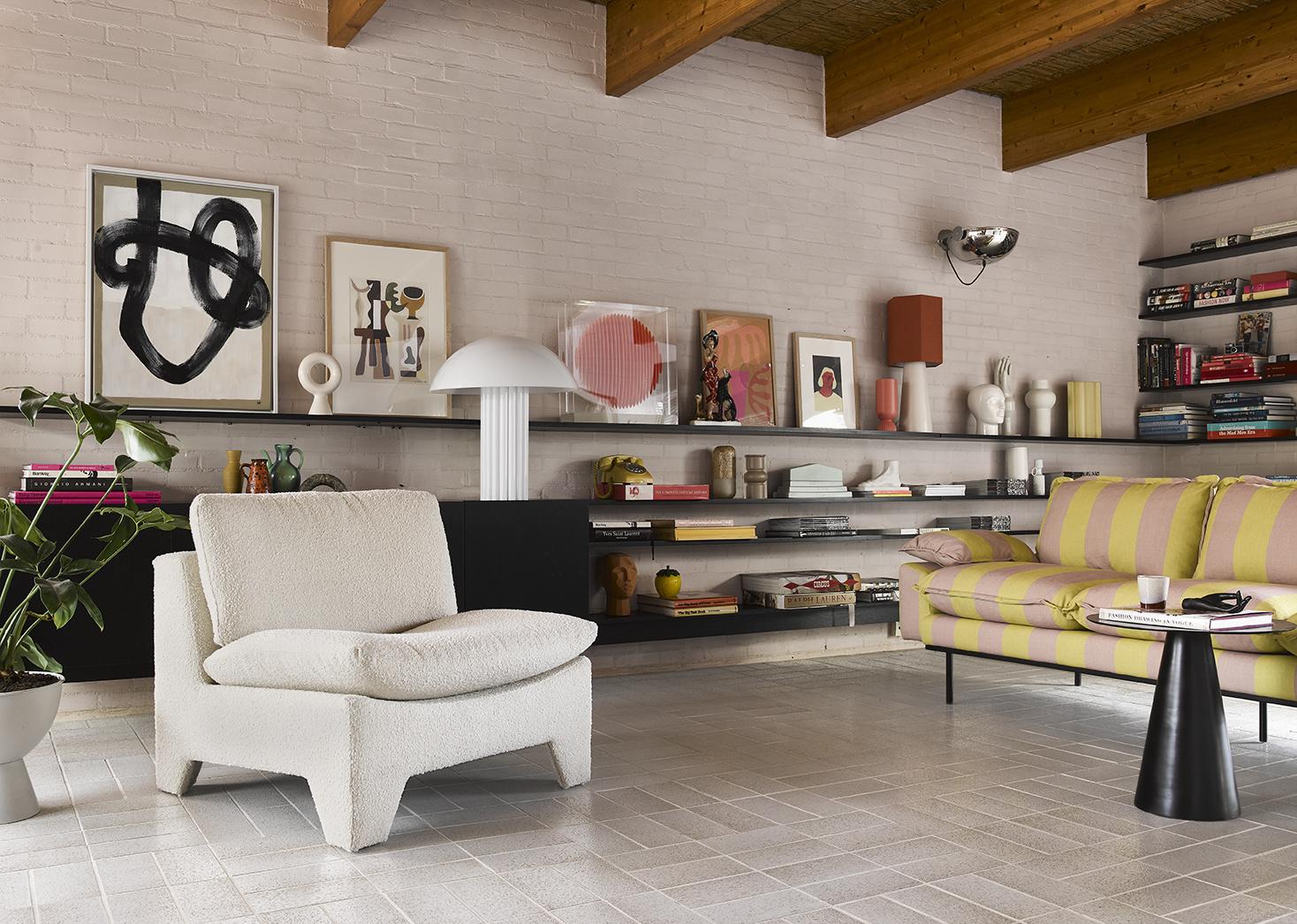Bank retro sofa: 3-seats striped, yellow/nude-3