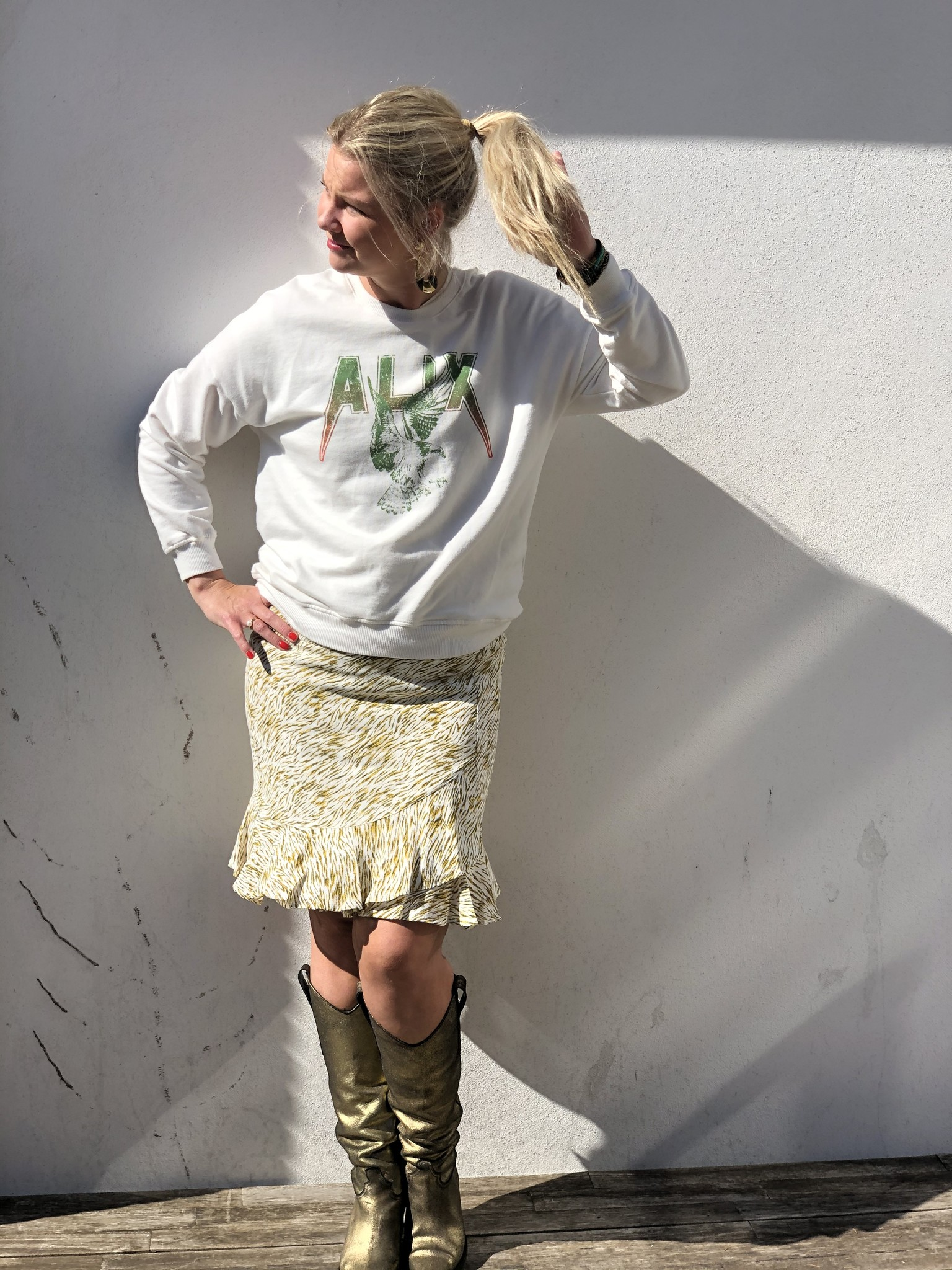Sweater garmend dyed boxy ALIX off white-2