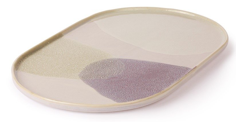 Bord gallery ceramics: oval dinner plate green/lilac-3