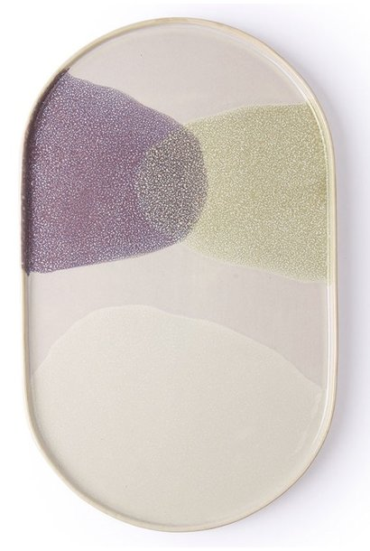 Bord gallery ceramics: oval dinner plate green/lilac