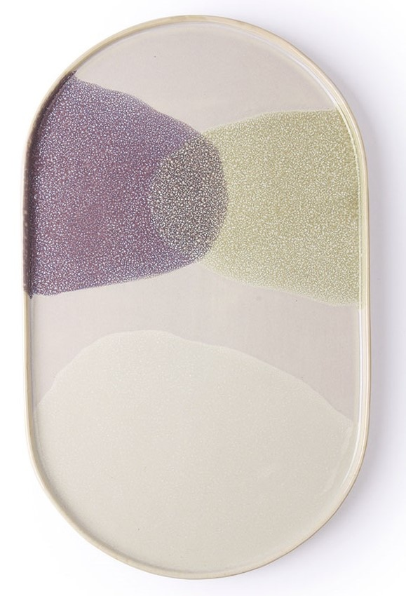 Bord gallery ceramics: oval dinner plate green/lilac-1