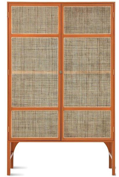Kast retro webbing cabinet orange with shelves