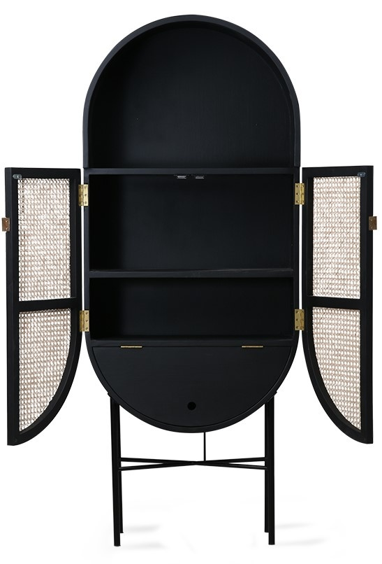 Kast retro webbing retro oval cabinet black-3