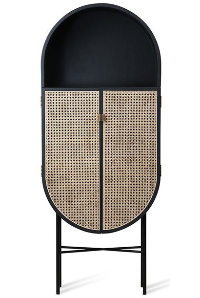 Kast retro webbing retro oval cabinet black