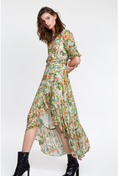 Jurk Botanical wrap dress faded army