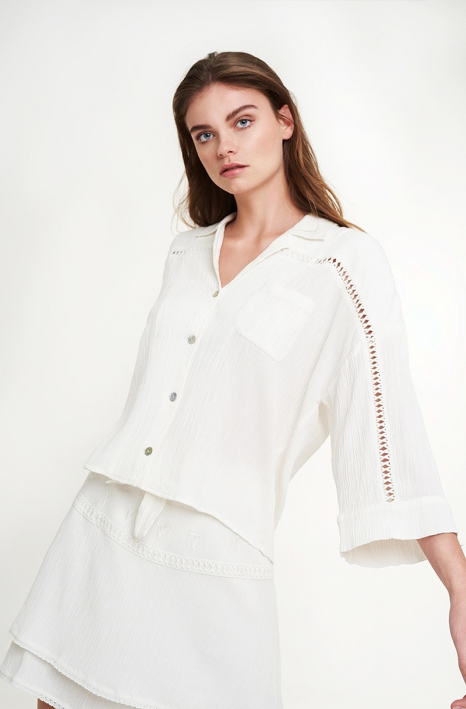 Blouse woven crinkle off white-4