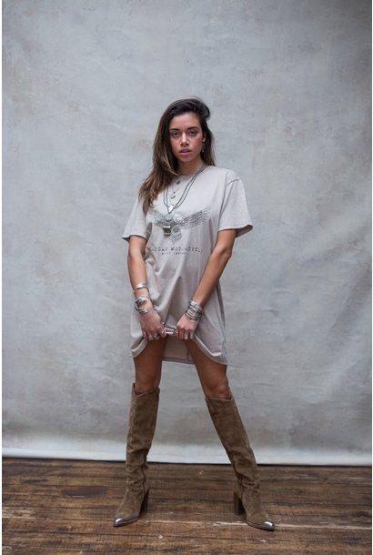 T-shirt dress Áquila stone beige