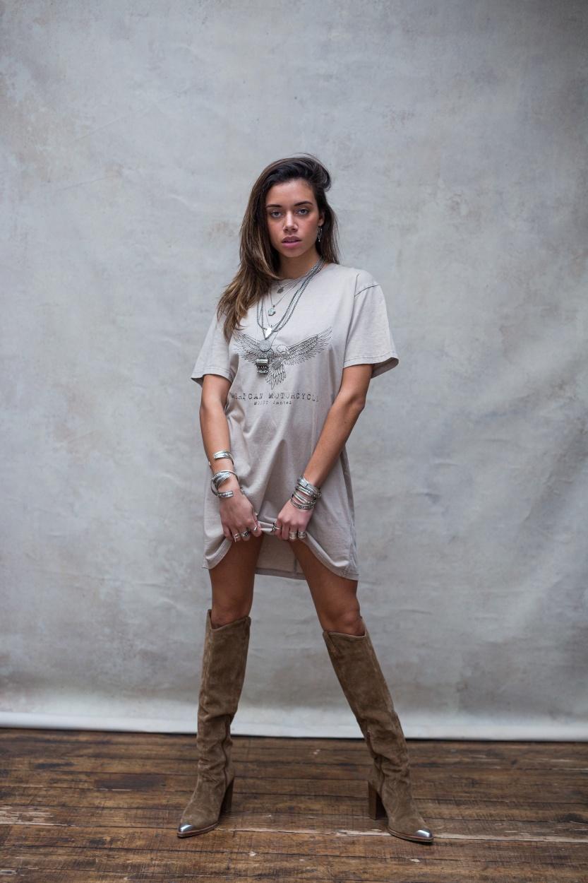T-shirt dress Áquila stone beige-1