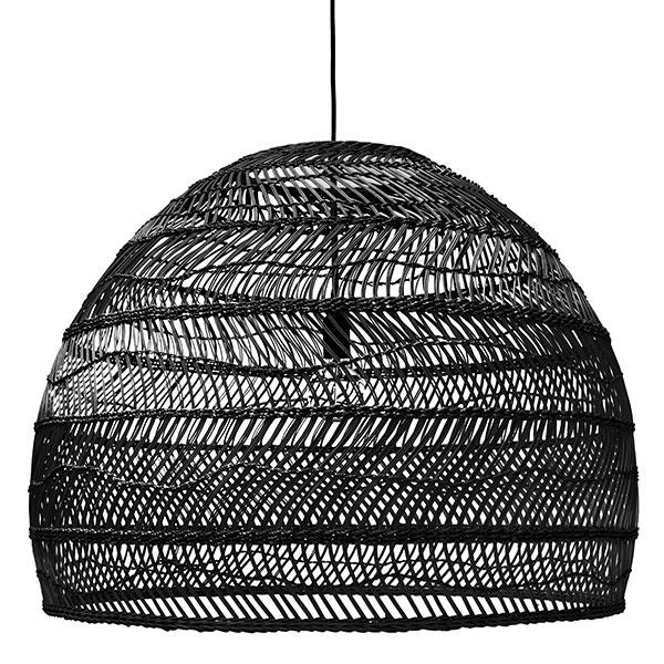 Hanglamp wicker ball L Black-1
