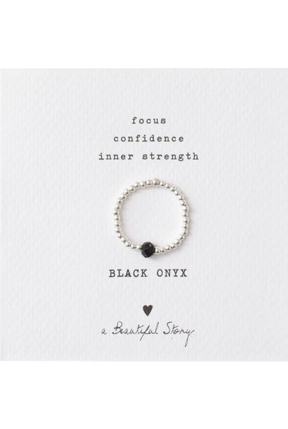 Ring Sparkle Black Onyx Silver M/L